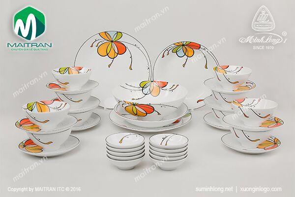 Bộ bàn ăn gốm sứ Minh Long Bộ bàn ăn Daisy Bóng bay 36 sp