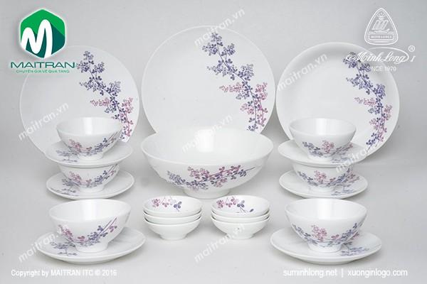 Bộ bàn ăn gốm sứ Minh Long Bộ bàn ăn Daisy Cỏ Tím 22 sản phẩm