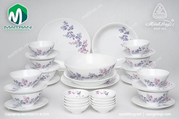 Bộ bàn ăn gốm sứ Minh Long Bộ bàn ăn Daisy Cỏ Tím 35 sản phẩm