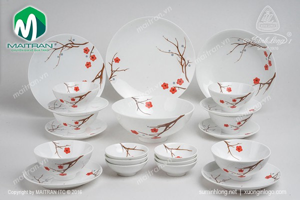 Bộ bàn ăn gốm sứ Minh Long Bộ bàn ăn Daisy Hồng Mai 22 sản phẩm