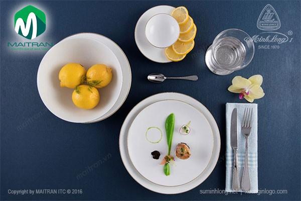 Bộ bàn ăn gốm sứ Minh Long Bộ bàn ăn Daisy IFP Chỉ vàng 10 sản phẩm