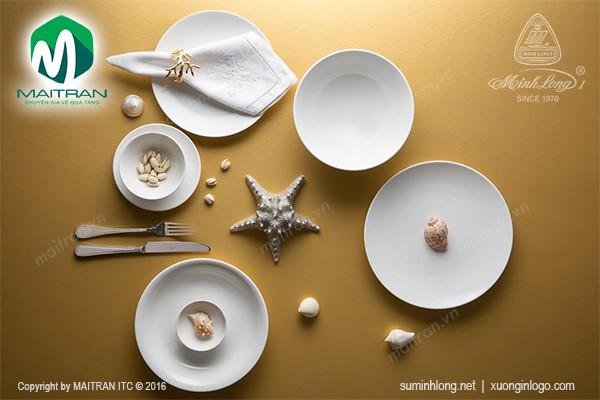 Bộ bàn ăn gốm sứ Minh Long Bộ bàn ăn Daisy IFP Chỉ vàng 14 sản phẩm