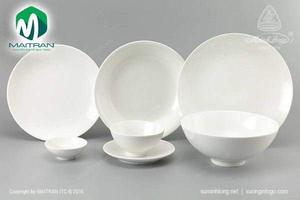 Bộ bàn ăn gốm sứ Minh Long Bộ bàn ăn 10 sp Daisy IFP trắng