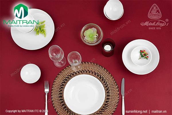 Bộ bàn ăn 9 sản phẩm Daisy IFP trắng