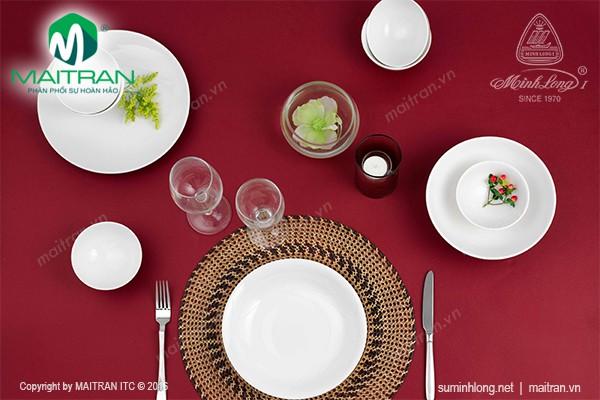 Bộ bàn ăn gốm sứ Minh Long Bộ bàn ăn 9 sản phẩm Daisy IFP trắng