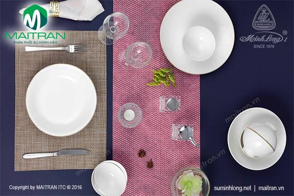 Bộ bàn ăn gốm sứ Minh Long Bộ bàn ăn Daisy IFP viền chỉ vàng 9 sp