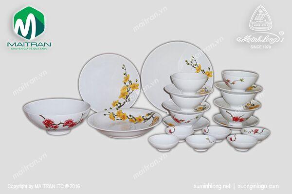 Bộ bàn ăn gốm sứ Minh Long Bộ bàn ăn Daisy Sắc Xuân 22 sp