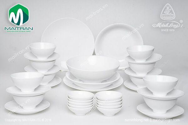 Bộ bàn ăn gốm sứ Minh Long Bộ bàn ăn 35 sp Daisy Trắng