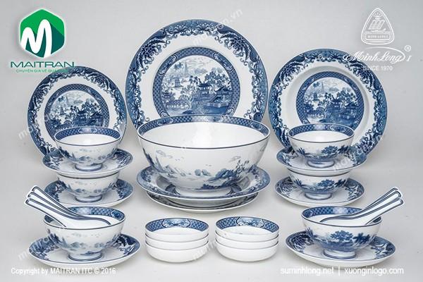 Bộ bàn ăn gốm sứ Minh Long Bộ bàn ăn Hoàng Cung Hồn Việt 30 sp