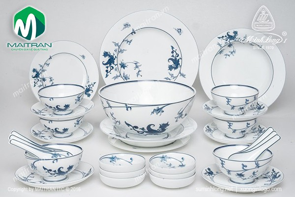 Bộ bàn ăn gốm sứ Minh Long Bộ bàn ăn Hoàng Cung Lạc Hồng 30 sp