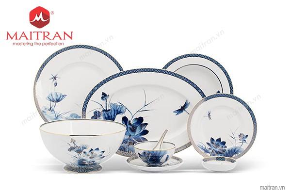 Bộ bàn ăn gốm sứ Minh Long Bộ bàn ăn 30 sp Hoàng Cung Sen Vàng