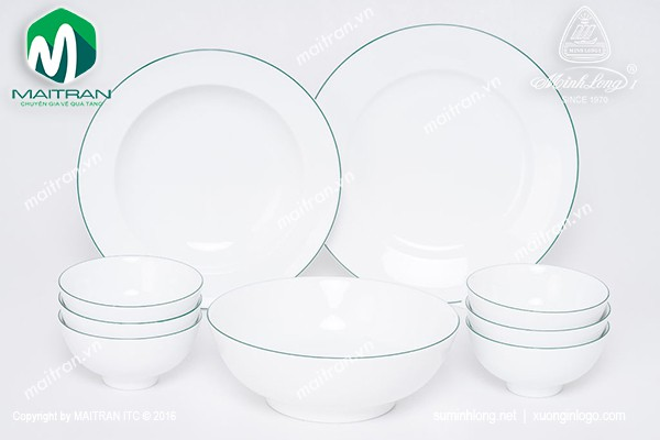 Bộ bàn ăn gốm sứ Minh Long Bộ bàn ăn 9 sảnphẩm Jasmine chỉ xanh lá