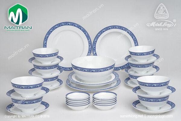 Bộ bàn ăn gốm sứ Minh Long Bộ bàn ăn Jasmine Chim Lạc 35 sp
