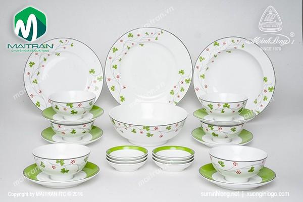 Bộ bàn ăn gốm sứ Minh Long Bộ bàn ăn Jasmine Hoa May Mắn 22sp