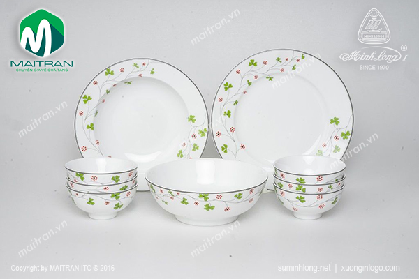 Bộ bàn ăn 9 sản phẩm Jasmine Hoa May Mắn