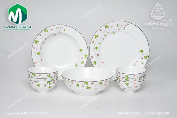 Bộ bàn ăn gốm sứ Minh Long Bộ bàn ăn 9 sản phẩm Jasmine Hoa May Mắn
