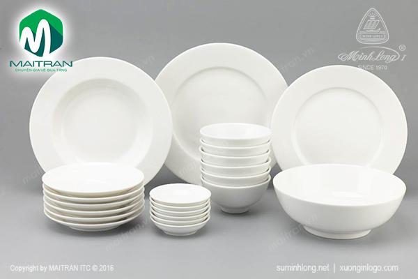 Bộ bàn ăn 22 sp Jasmine IFP Trắng