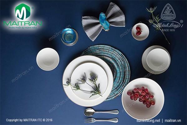 Bộ bàn ăn gốm sứ Minh Long Bộ bàn ăn Jasmine IFP Viền chỉ vàng 22 sp
