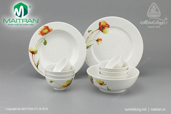 Bộ bàn ăn gốm sứ Minh Long Bộ bàn ăn Jasmine IFP Anh Túc 11 sp