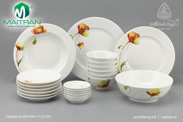 Bộ bàn ăn gốm sứ Minh Long Bộ bàn ăn Jasmine IFP Anh Túc 22 sp