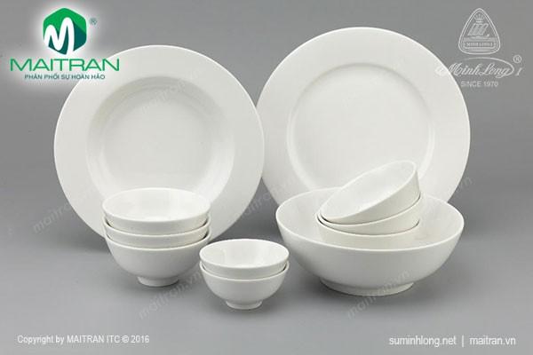 Bộ bàn ăn gốm sứ Minh Long Bộ bàn ăn 11 sp Jasmine IFP Trắng