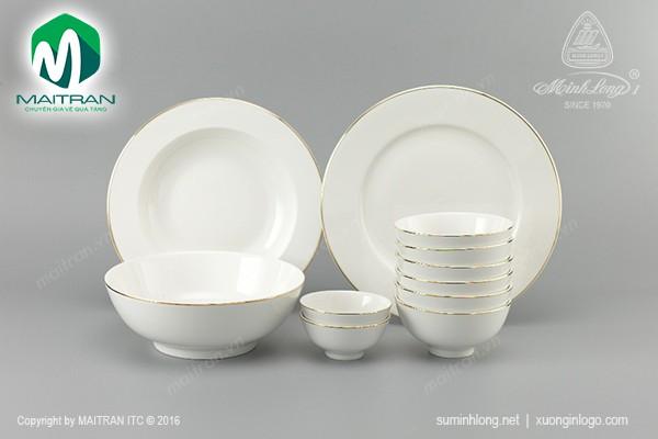 Bộ trà gốm sứ Minh Long Bộ bàn ăn Jasmine IFP Viền chỉ vàng 11 sp