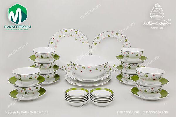 Bộ bàn ăn gốm sứ Minh Long Bộ bàn ăn Jasmine May Mắn 35 sp