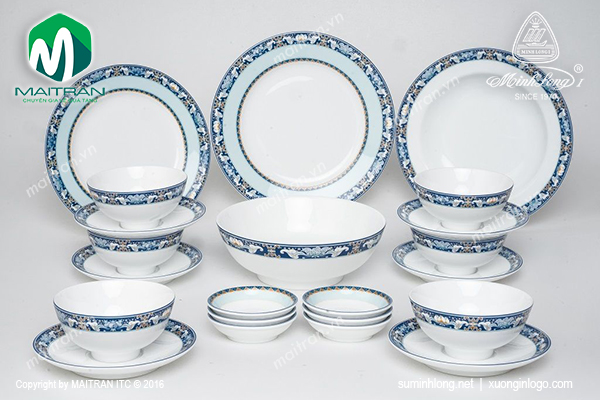 Bộ bàn ăn 22 sản phẩm Jasmine Phúc Lộc Thọ