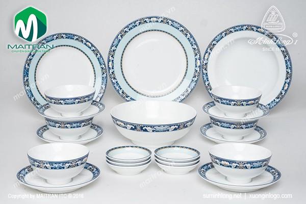 Bộ bàn ăn gốm sứ Minh Long Bộ bàn ăn 22 sản phẩm Jasmine Phúc Lộc Thọ