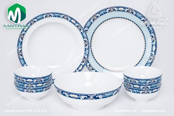 Bộ bàn ăn gốm sứ Minh Long Bộ bàn ăn 9 sản phẩm Jasmine Phúc Lộc Thọ
