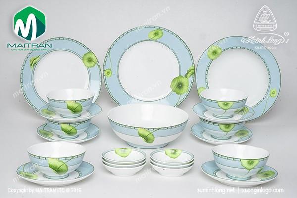 Bộ bàn ăn gốm sứ Minh Long Bộ bàn ăn Jasmine Tích Tuyết Thảo 22sp