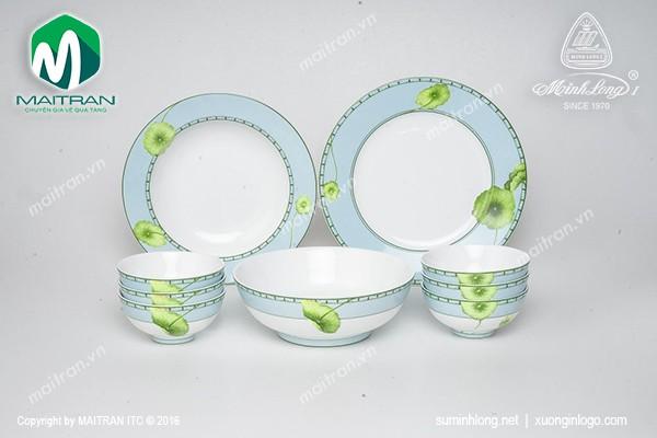 Bộ bàn ăn gốm sứ Minh Long Bộ bàn ăn Jasmine Tích Tuyết Thảo 9 sản phẩm