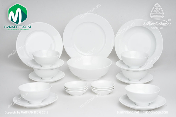 Bộ bàn ăn 22 sản phẩm Jasmine trắng