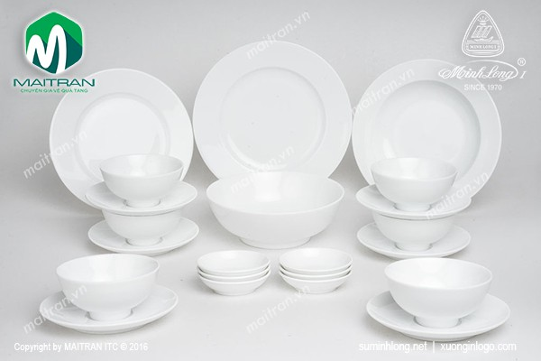 Bộ bàn ăn gốm sứ Minh Long Bộ bàn ăn 22 sản phẩm Jasmine trắng