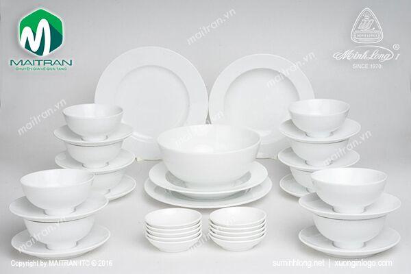 Bộ bàn ăn 35 sp Jasmine Trắng