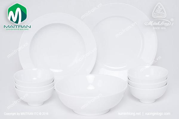 Bộ bàn ăn 9 sản phẩm Jasmine trắng