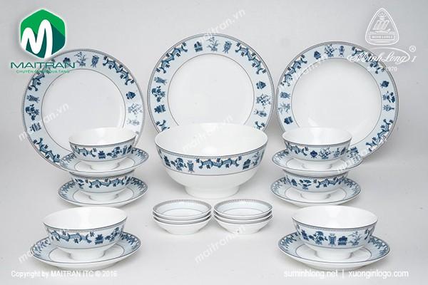 Bộ bàn ăn gốm sứ Minh Long Bộ bàn ăn Jasmine Tứ Quý 22 sản phẩm