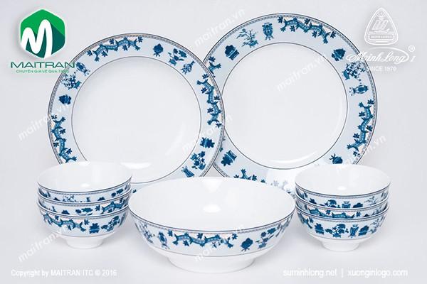 Bộ bàn ăn gốm sứ Minh Long Bộ bàn ăn 9 sản phẩm Jasmine Tứ Quý