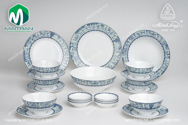 Bộ bàn ăn Jasmine Vinh Quy Nhạt 22sp