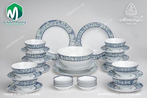 Bộ bàn ăn gốm sứ Minh Long Bộ bàn ăn 35 sp Jasmine Vinh Quy Nhạt