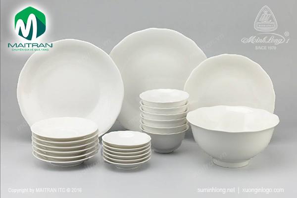 Bộ bàn ăn gốm sứ Minh Long Bộ bàn ăn 22 sp Mẫu Đơn IFP Trắng