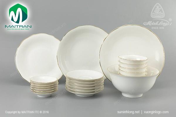 Bộ bàn ăn gốm sứ Minh Long Bộ bàn ăn Mẫu Đơn IFP Viền Chỉ Vàng 22 sp