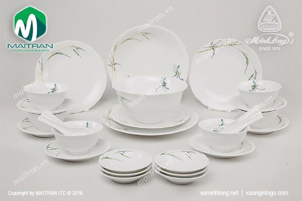 Bộ bàn ăn gốm sứ Minh Long Bộ bàn ăn Mẫu Đơn Thanh Trúc 30 sp