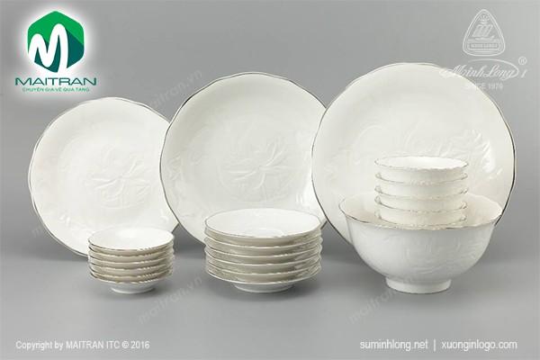 Bộ bàn ăn gốm sứ Minh Long Bộ bàn ăn Sen IFP Chỉ Bạch Kim 22 sp