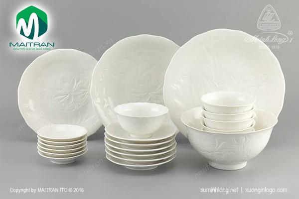 Bộ bàn ăn gốm sứ Minh Long Bộ bàn ăn 22 sp Sen IFP Trắng