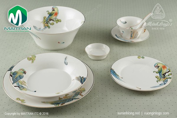 Bộ bàn ăn gốm sứ Minh Long Bộ bàn ăn Tulip IFP Hoàng Yến 30 sp
