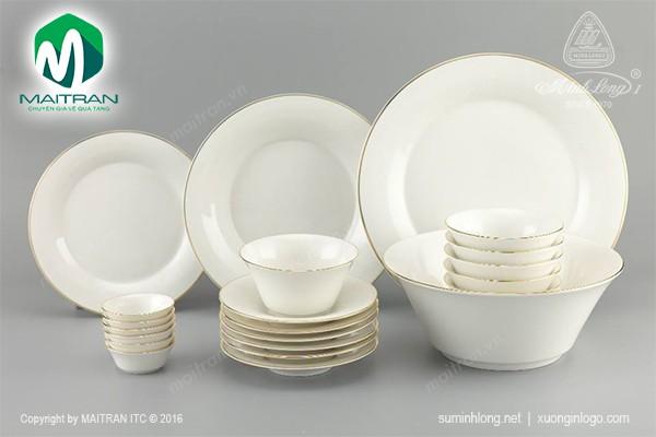 Bộ bàn ăn gốm sứ Minh Long Bộ bàn ăn Tulip IFP Viền Chỉ Vàng 22 sp