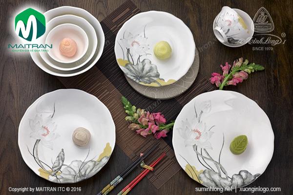 Bộ bàn ăn Tuyết Liên 14 sp