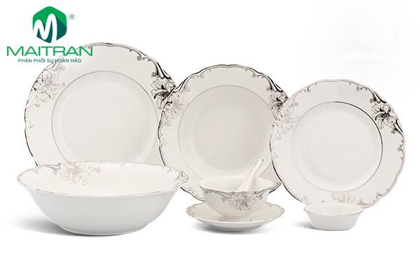 Bộ bàn ăn gốm sứ Minh Long Bộ bàn ăn 30 sp Đài Các Trang Trí Bạch Kim