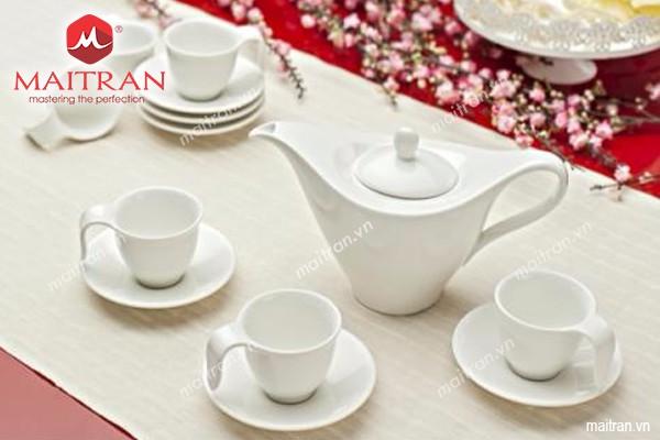 Bộ trà gốm sứ Minh Long Bộ cà phê 0.45l Anh Vũ trắng ngà